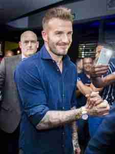 David Beckham arriving at News Cafe Sandton